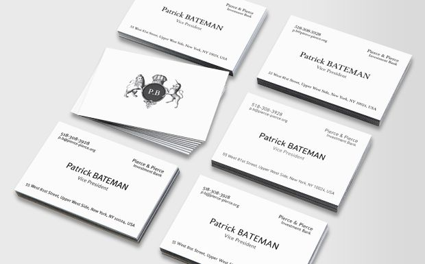Moocom Luxe Business Cards Patrick Bateman Products I Love - American psycho business card template