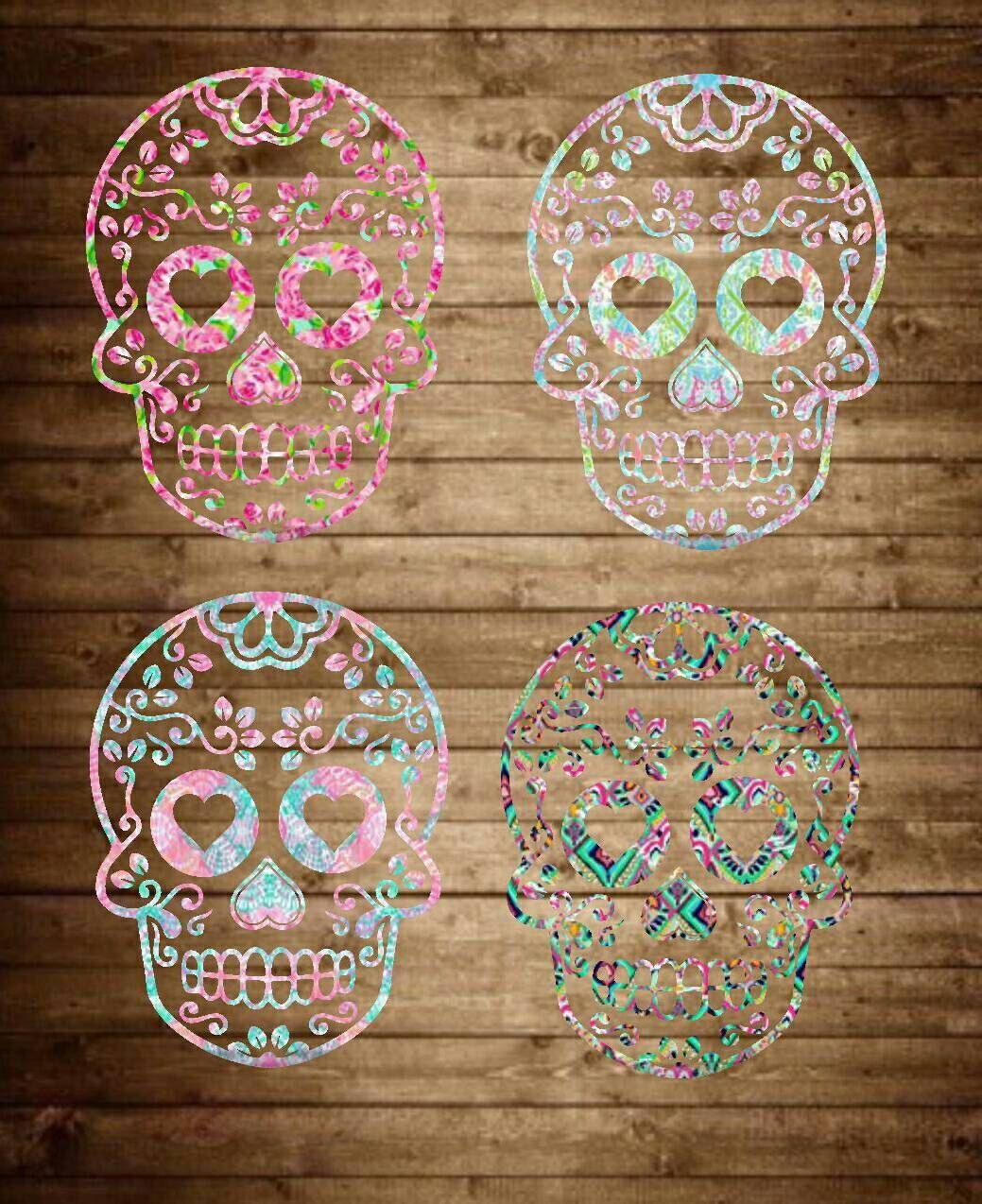 Sugar Skull Decal Lilly Pulitzer Inspired Decal Sugar Skull - Sugar skull yeti cup