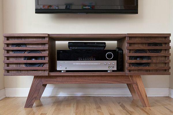 Midcentury media console 1 hifi boombox arcade - Meuble tele enceinte ...