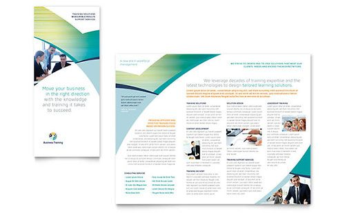 Business training tri fold brochure template flyer for Training brochure template
