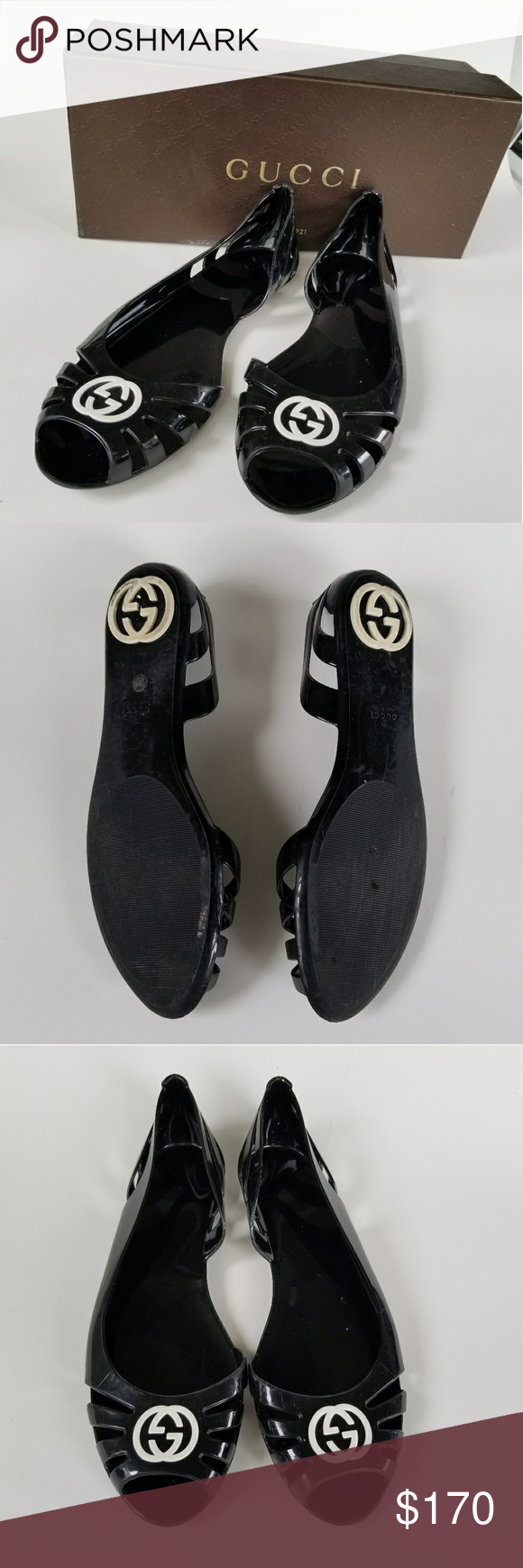 5ffdca8b359d Gucci Jellies! Authentic Gucci black jelly sandals with white monogram. In  great used condition