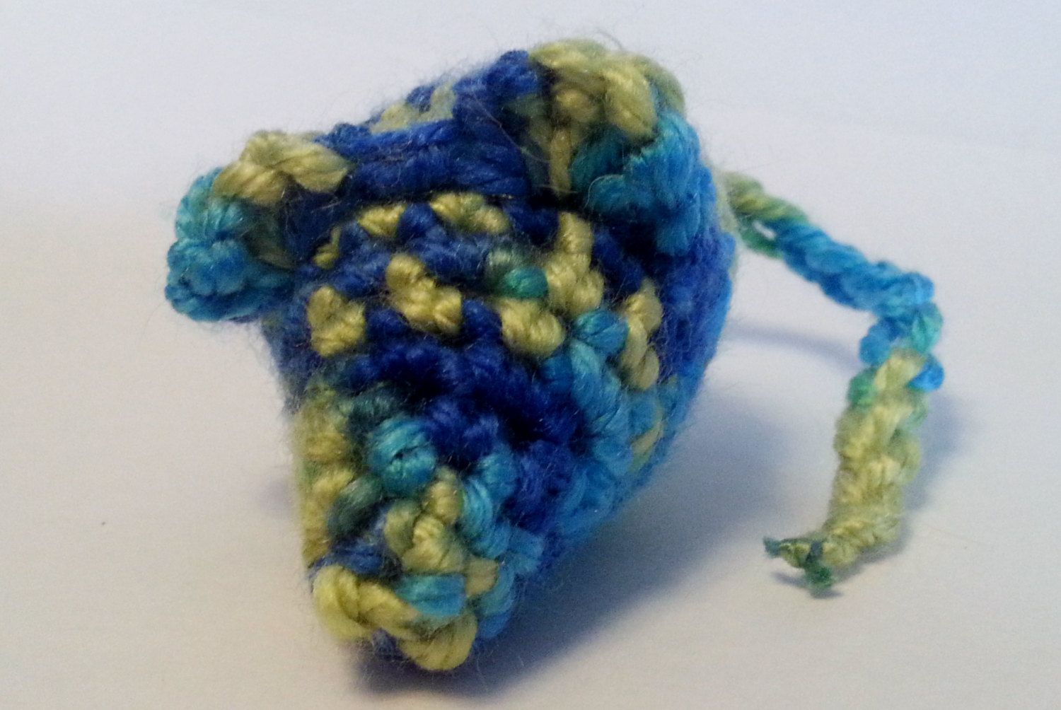 Crazy Boy Mouse Cat toy. crinkly or rattle, cat nip- Blue and Green Variegated color by TooCuteToChew on Etsy