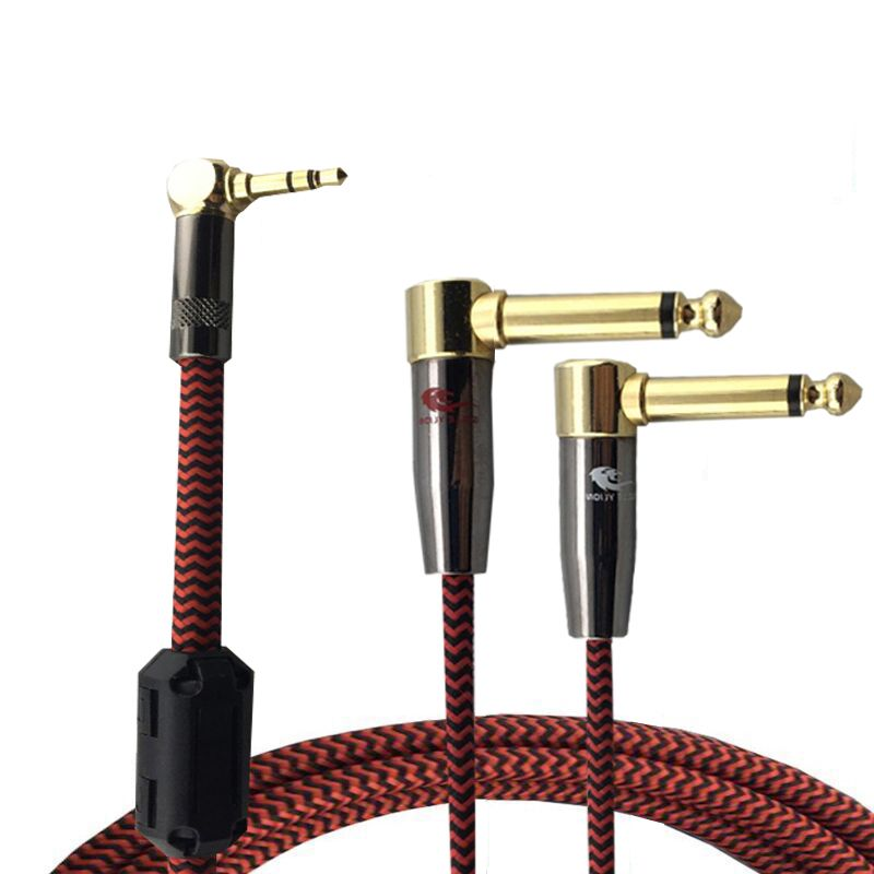 Audiophile Stereo Mini Jack 1 8 3 5mm To Dual 1 4 6 35mm Tv Pc Phone Mixer Amplifier Cable L Shape Angle Connector 1 Speaker Amplifier Audio Cable Audiophile
