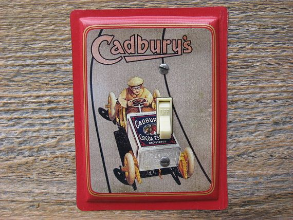 Man Cave Lighting Decor Switch Plate Switchplate by tincansally (Home & Living, Lighting, Switchplates, man cave, cave lighting, cave decor, cave light, switch plate, man switchplate, cadburys tin, red decor, red switchplate, box car, car decor, fathers day, dad gift)