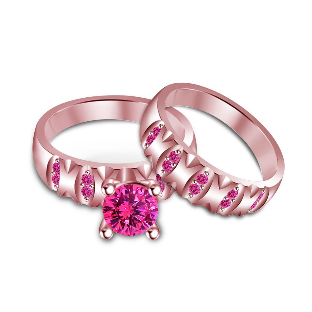 Rose Gold on 925 Sterling Silver Round Pink Sapphire Bridal Ring Set ...