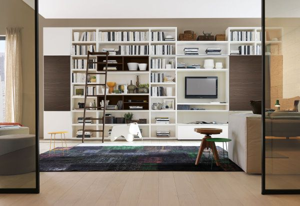 librerie componibili in soggiorno: soluzione libreria 584 con vano ... - Soggiorno Con Tv A Scomparsa