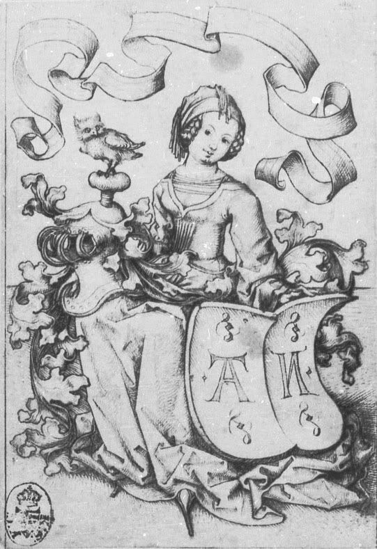Lady with Letter Coat of Arms, c 1475-1500, Master of the Housebook
