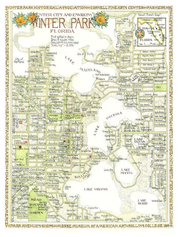 Lake Park Florida Map.Winter Park Florida Map In Two Sizes Print From Original