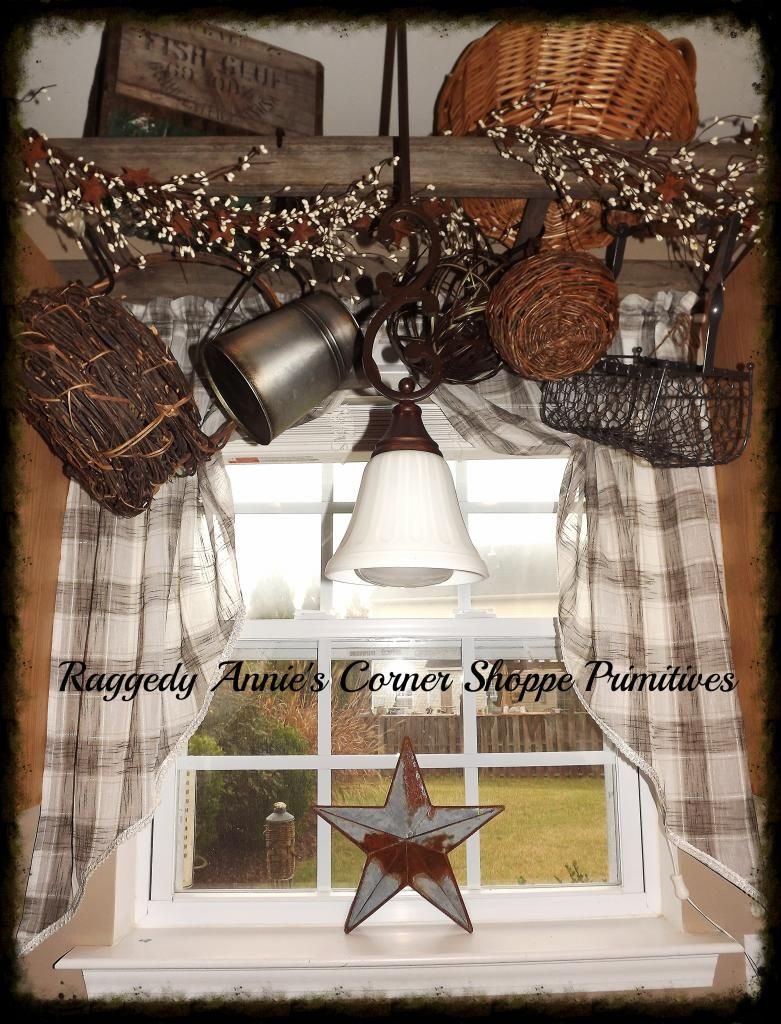 My Kitchen Window Ladder Hung Above Sink Wrapped With Pip Berries Hanging Baskets Primitive Decorating Country Country House Decor Country Decor