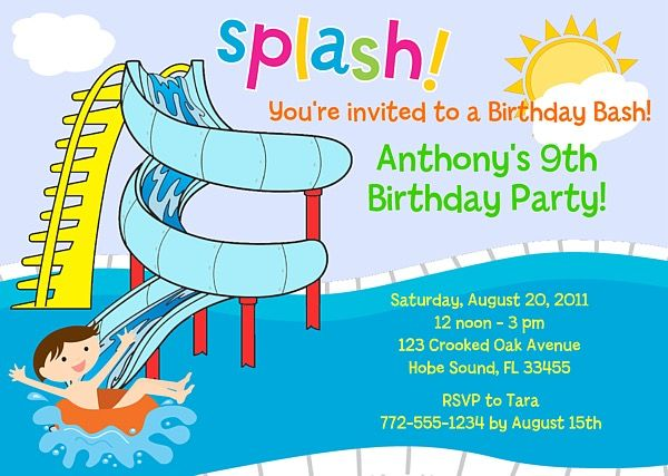 waterslide pool party birthday invitations swimming pool party
