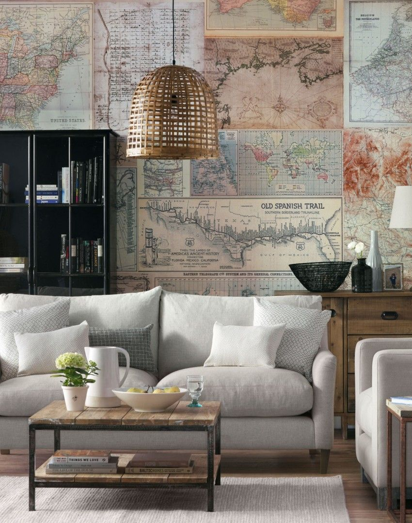 Living room with map design wallpaper mural  Living room color