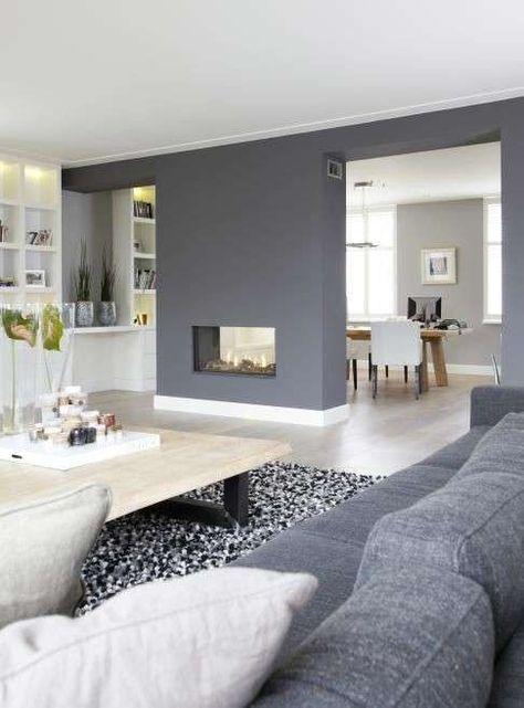 Idee abbinamento colori pareti - Soggiorno grigio e bianco ...