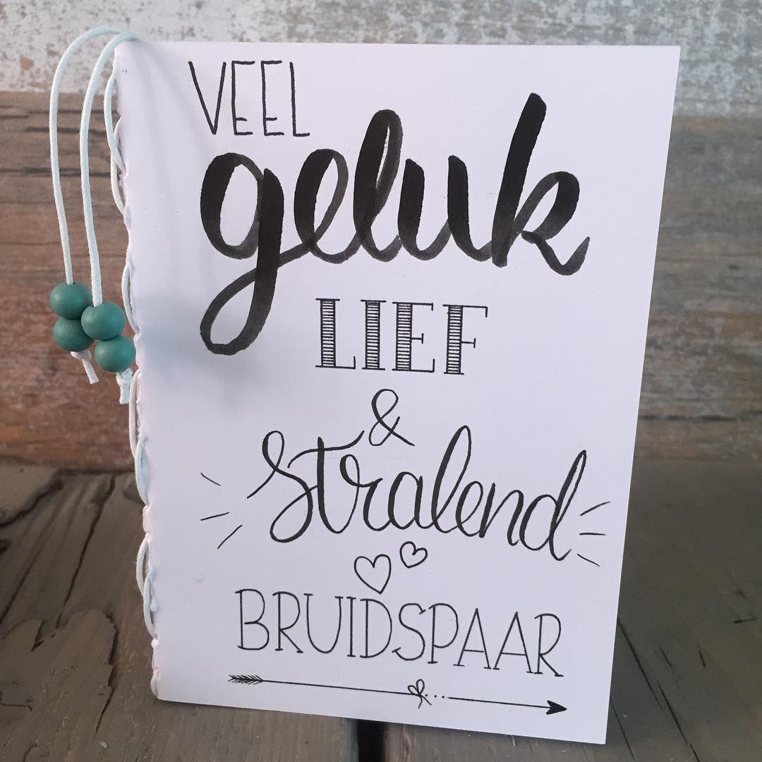 Citaten Voor Bruidspaar : Wenskaart voor het bruidspaar geheel in handlettering