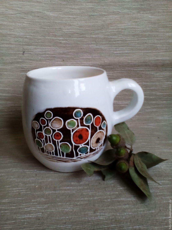 """Купить Чашка """" Воспоминания о лете """" - белый, оранжевый, голубой цвет, коричневый, подарок"""