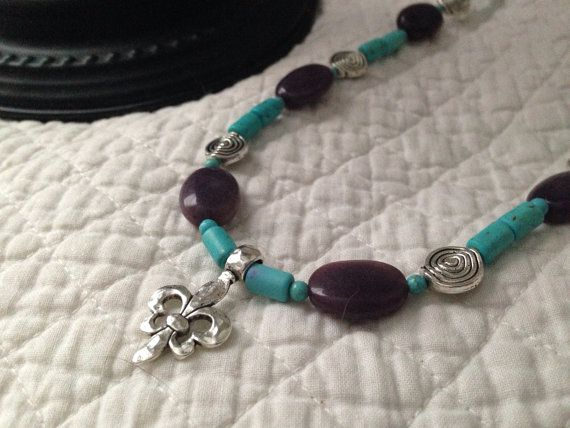Turquoise and Amethyst Fleur Di Lis Necklace.  on Etsy, $19.99