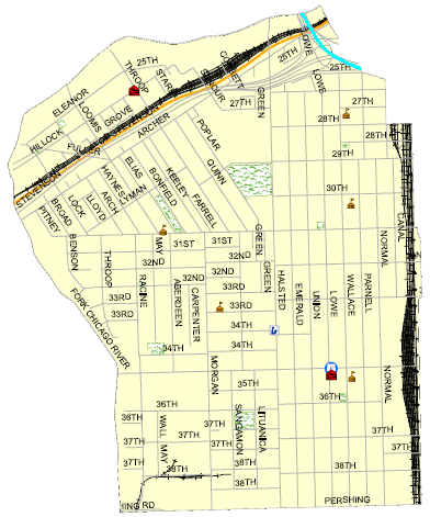 map of chicagos bridgeport streets Map of Chicago Community Area