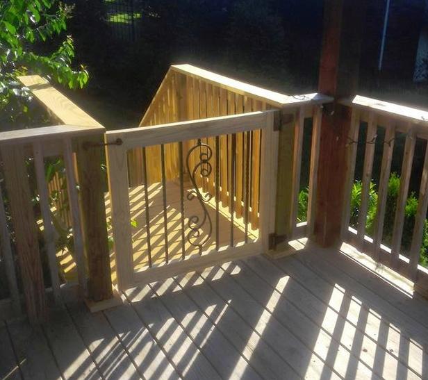 Custom Handmade Wood Porch Gate with Steel Finishing   Furniture by Brad    Nashville  TN. Custom Handmade Wood Porch Gate with Steel Finishing   Furniture