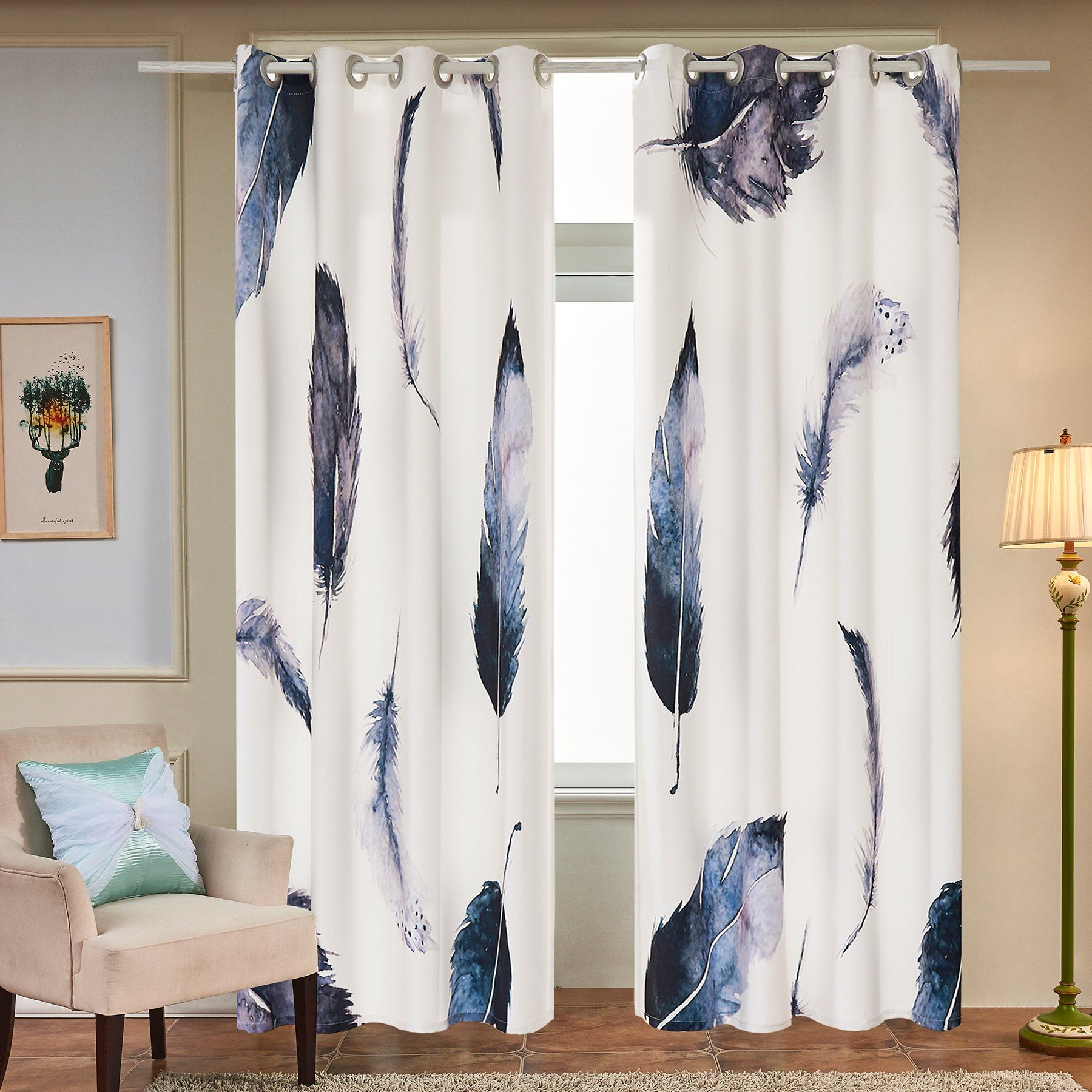 Fassbel 2 Panel Set Digital Printed Window Curtains For Bedroom Simple Dining Room Window Curtains Inspiration