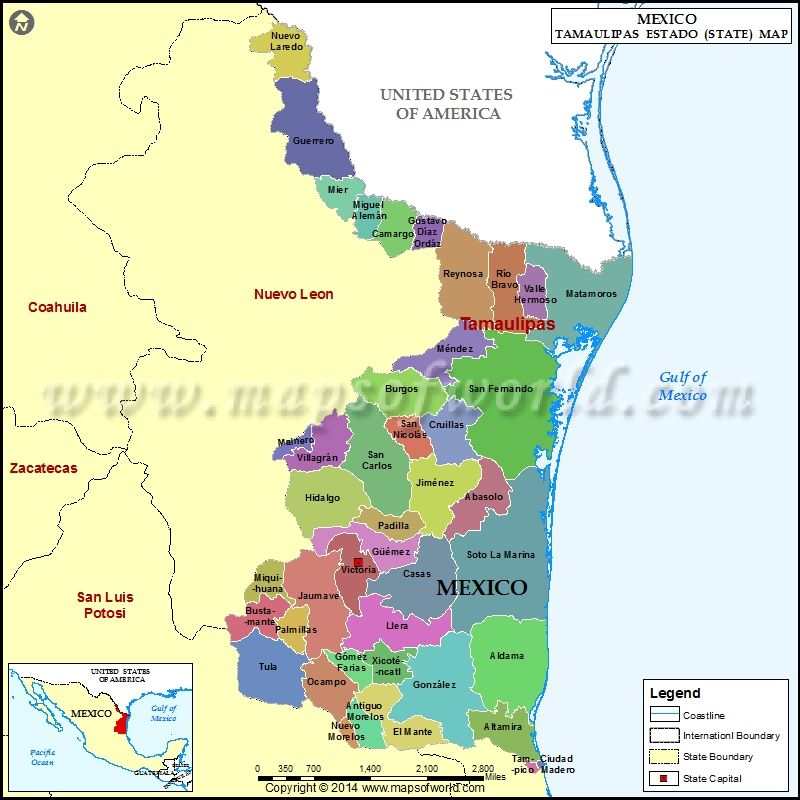 Tamaulipas map showing the administrative divisions of the