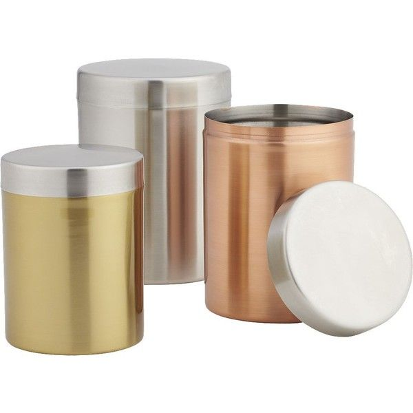 CB2 3 Piece Mixed Metal Canister Set Found On Polyvore