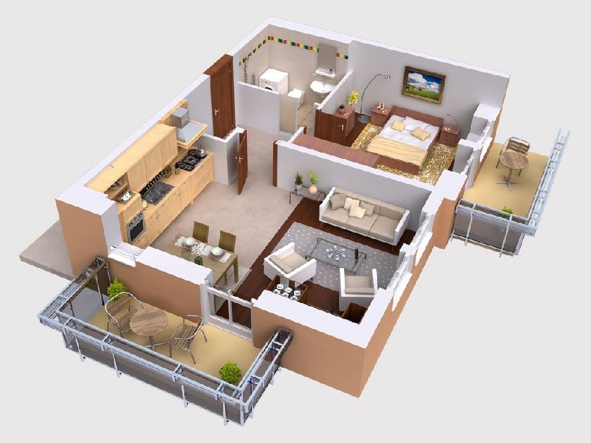 Home design excellent 3d studio apartment floor plans on for Apartment 3d