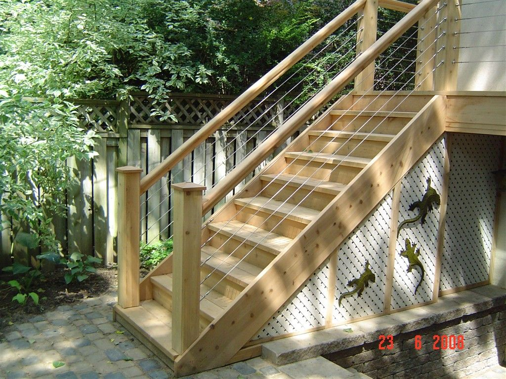 Outdoor wood staircase railing design 1024 x 768 315 kb for Garden decking banister