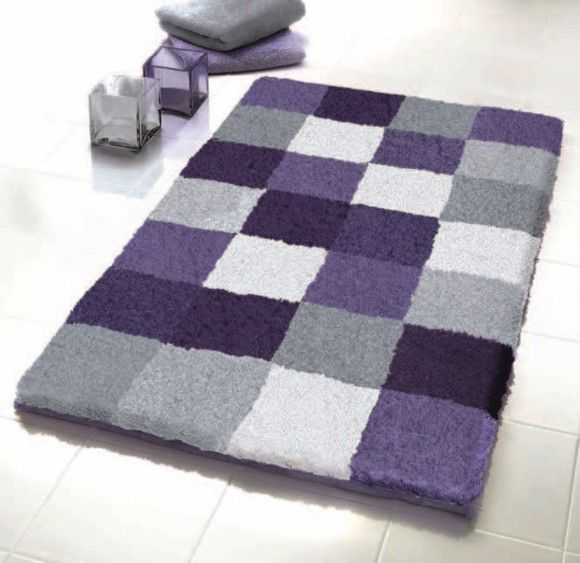 Purple   Grey Bathroom Rug for half bath. Bath Mats Rugs   http   modtopiastudio com choosing the tropical