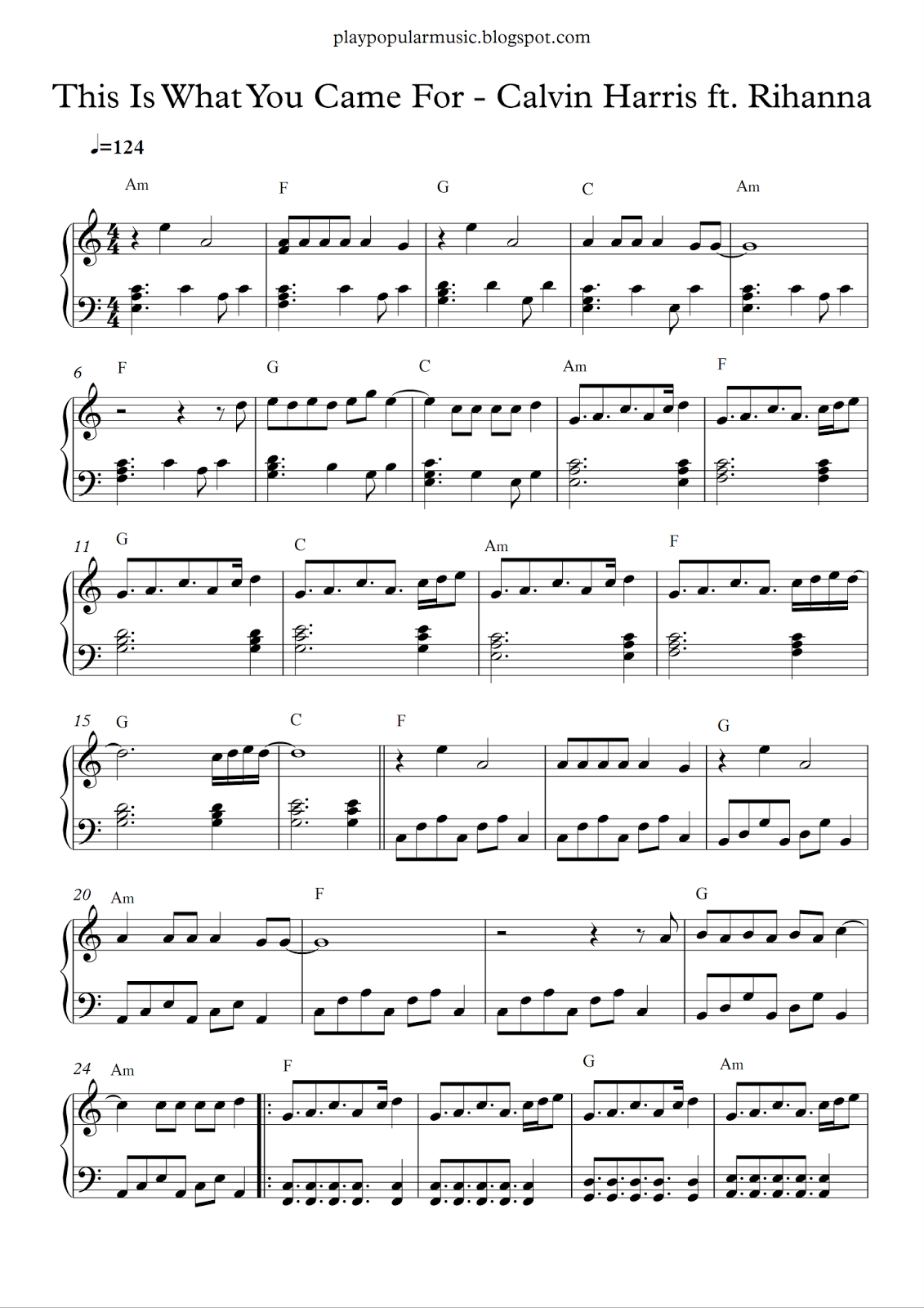 Free piano sheet music: This Is What You Came For - Calvin Harris ft