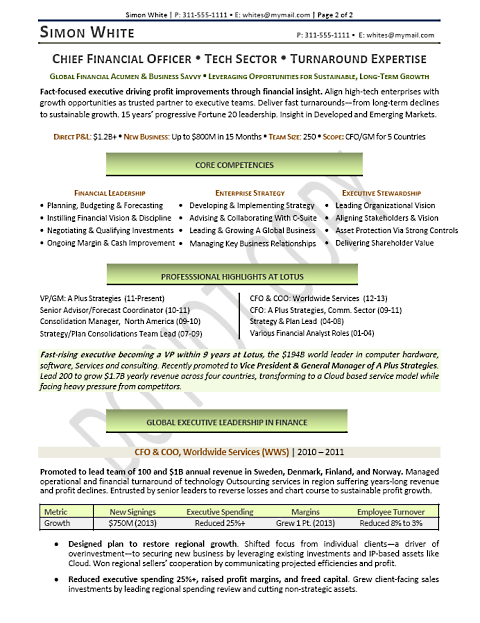 Sample Executive Resume from the Career Artisan Mary Elizabeth – Sample Cfo Resume