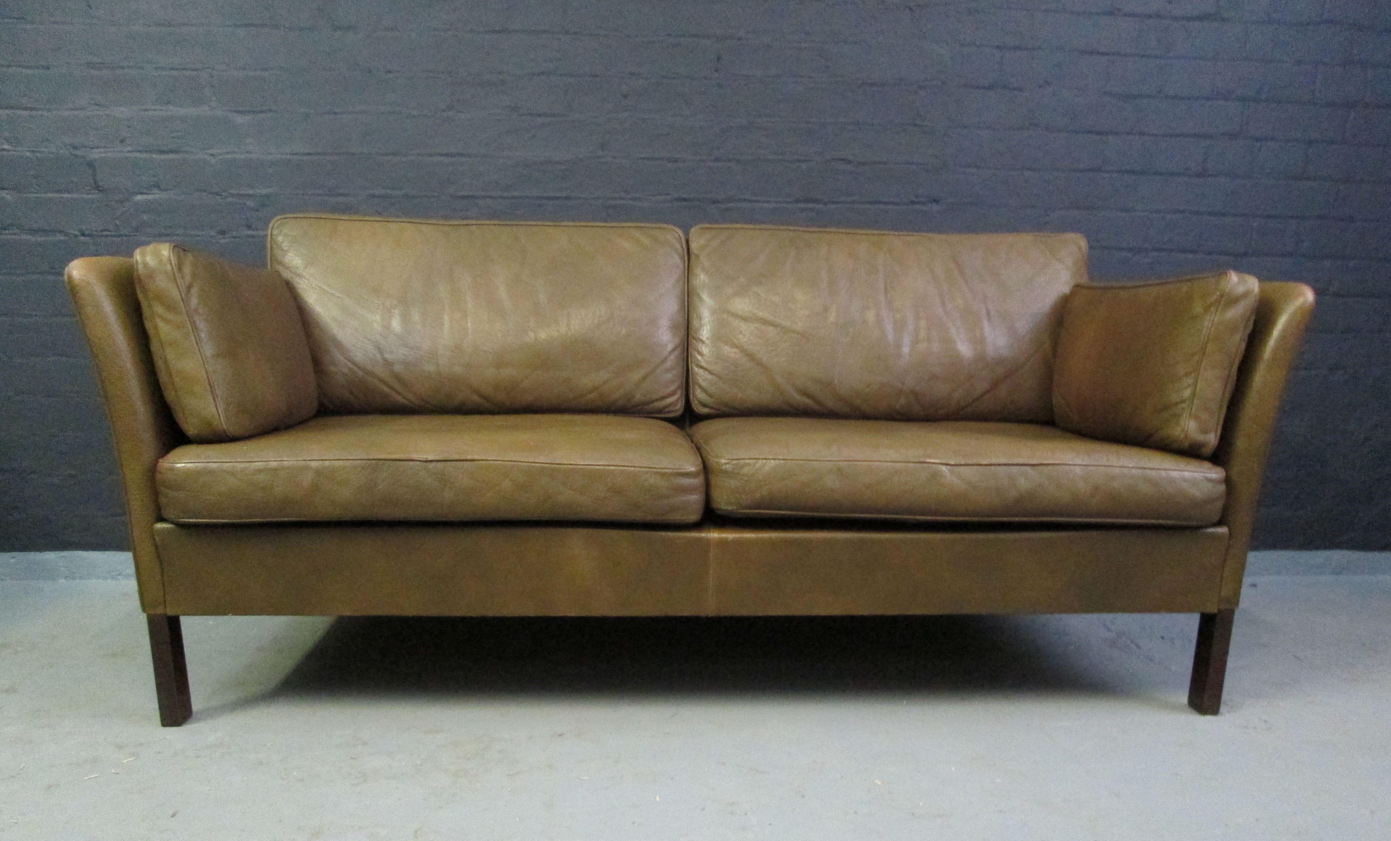 Classic Danish olive green leather sofa www.archivefurniture.co.uk ...