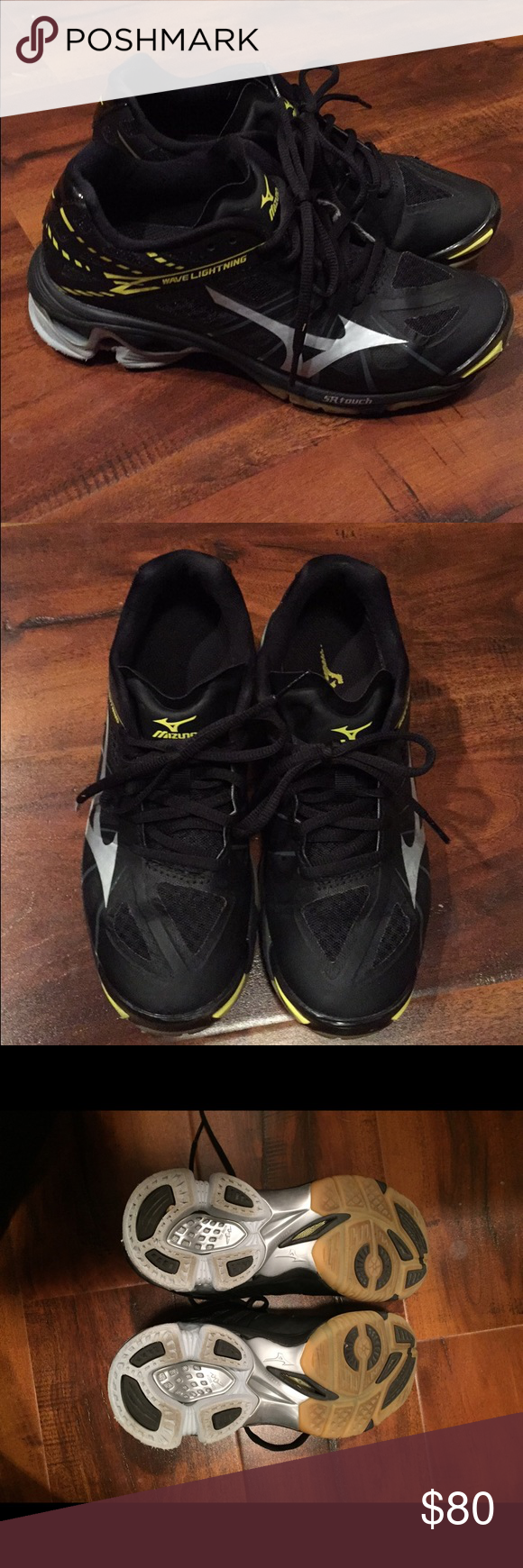 Indoor Mizuno volleyball shoes Fairly new and barely worn! Black, yellow and silver. In very good condition. Mizuno Shoes Athletic Shoes