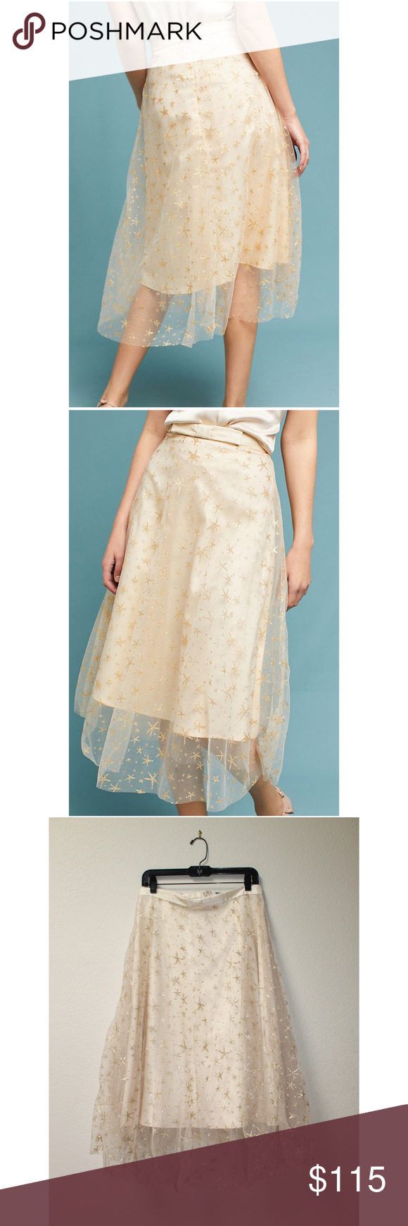 ae0ad366f Anthropologie EVA FRANCO Gold Star Tulle Skirt 12 EVA FRANCO Metallic Star Tulle  Skirt from Anthropologie Size 12 New with tag No offers please ...