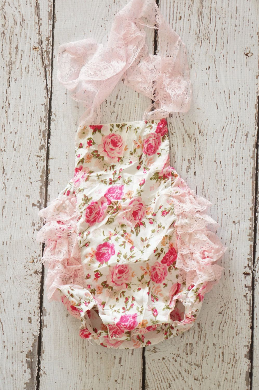 2051b62e4c9a Baby Romper - Shabby Flower Romper - Girls Sunsuit - Baby Bubble Romper -  Ruffle Romper.  18.00
