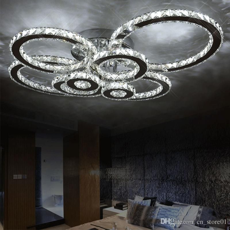Modern Led Crystal Chandelier Light Round Circle Flush Mounted
