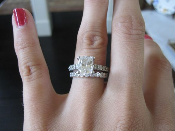 Pretty Brilliant Cut Engagement Ring With Unique Wedding Band