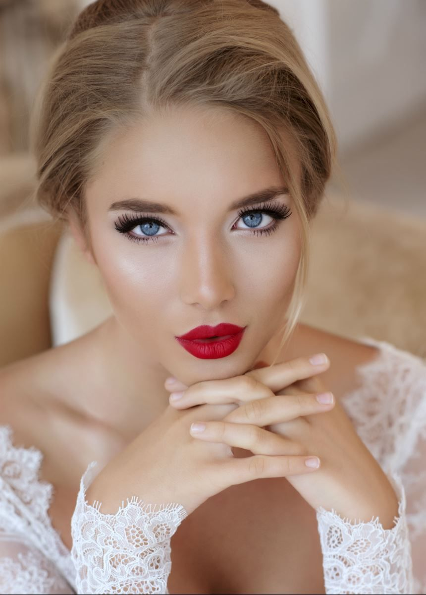 Beauty. Beautiful Woman Face With Red Lipstick On Plump ...