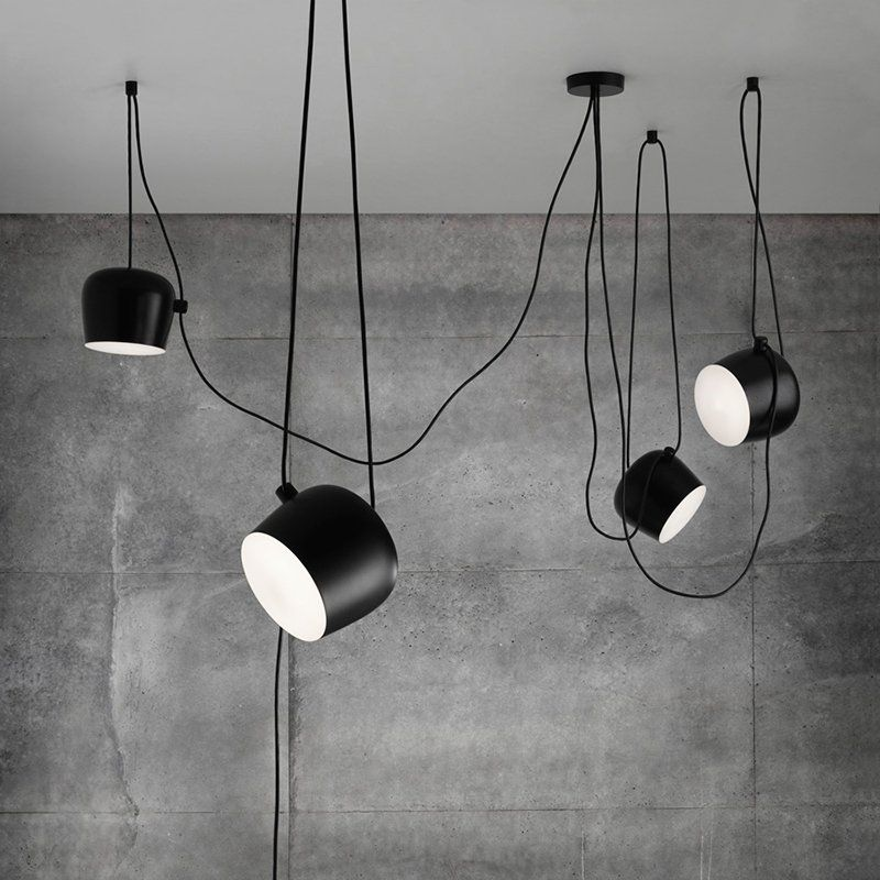 Personality Nordic Brief Wire Drop Hanging Lamp Black White Led Loft Pendant Lights Flower Drum Black Hanging Lighting Hanging Light Lamp Drum Pendant Lighting