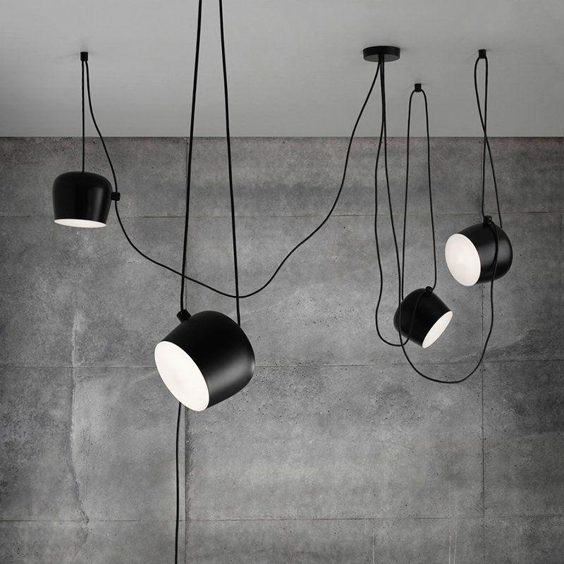 Personality Nordic Brief Wire Drop Hanging Lamp Black White Led Loft Pendant Lights Flower Dru Black Hanging Lighting Flos Aim Pendant Light Hanging Light Lamp