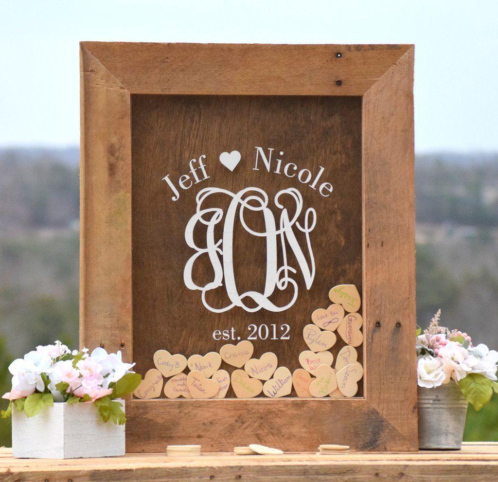Barnyard Wooden Heart Drop Wedding Guest Book Alternative