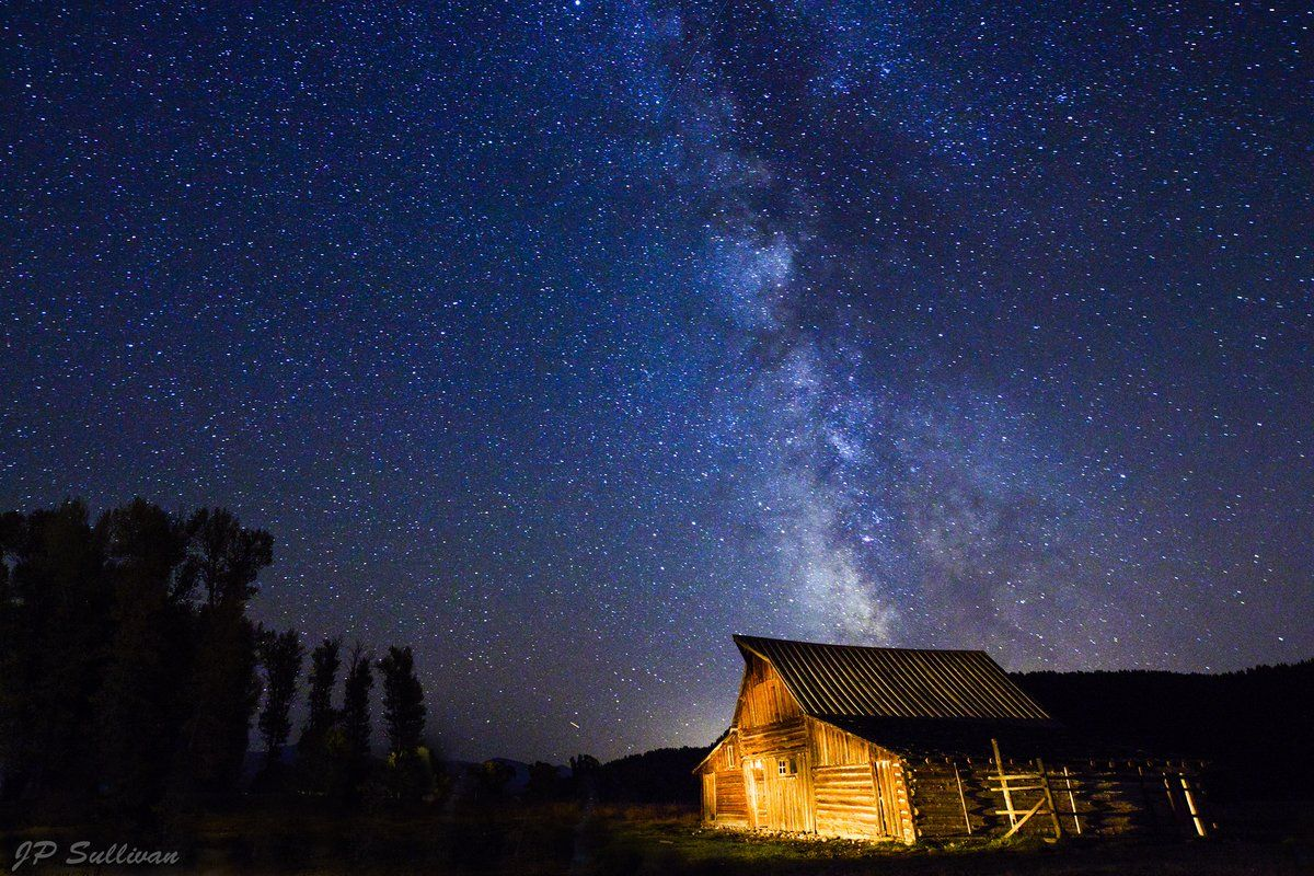 Amazing PhotoArt displayed on an aluminum platform - super light metal!  To truly appreciate it, you must see it in person -- the image draws you in!  Art Gallery opened in The Promenade Bolingbrook until the end of December 2014.  JP Sullivan Photography. Under the Stars.jpg :: The Milky-Way in all its glory with a cabin on Mormon Row