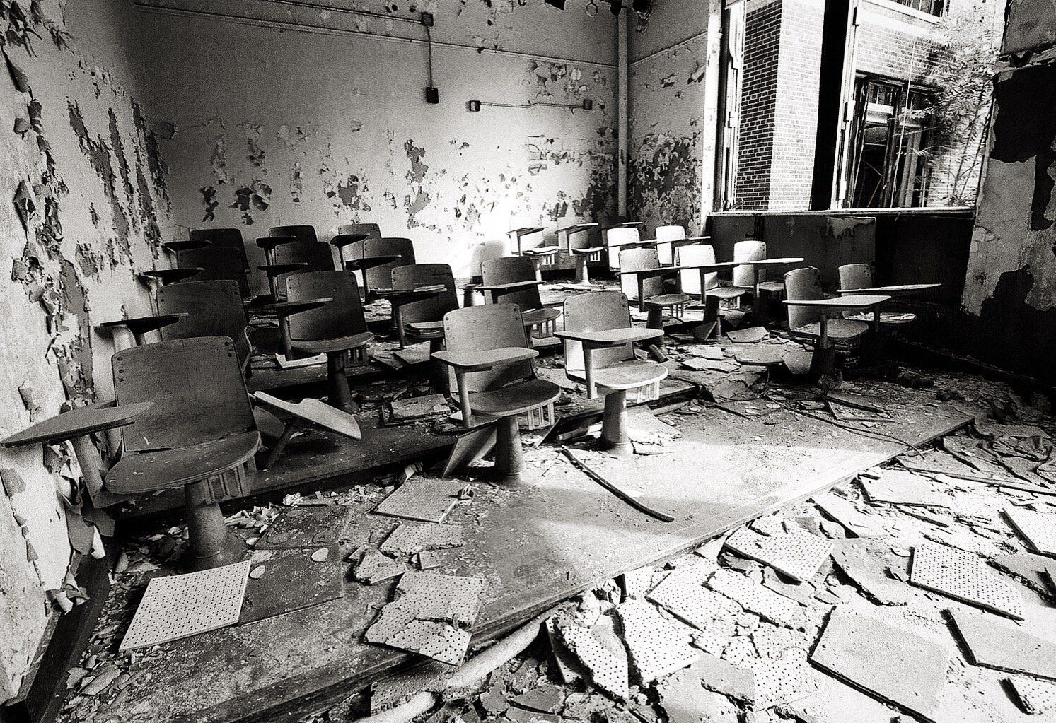 Detroit Photography Black White Photo Abandoned School Classroom Photography Prints Art Black And White Photography Print