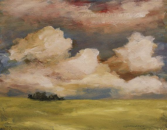 Candy Clouds, Prairie, Sky, Clouds, Country, Trees, Calming, Landscape Painting, Winjimir, Original Art, Home Decor, Gift, Original Painting...