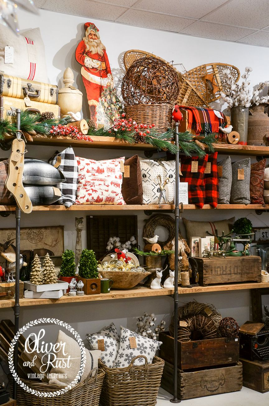 Oliver and rust christmas 2016 rustic vintage antiques for Retail shop display ideas