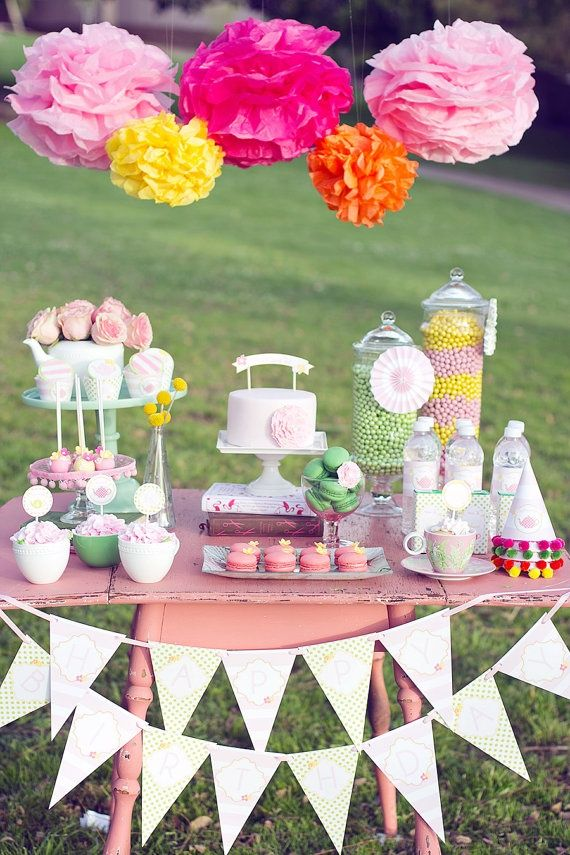 Pin by carmen perdew on mahren 39 s 1st birthday pinterest for Garden tea party table decorations