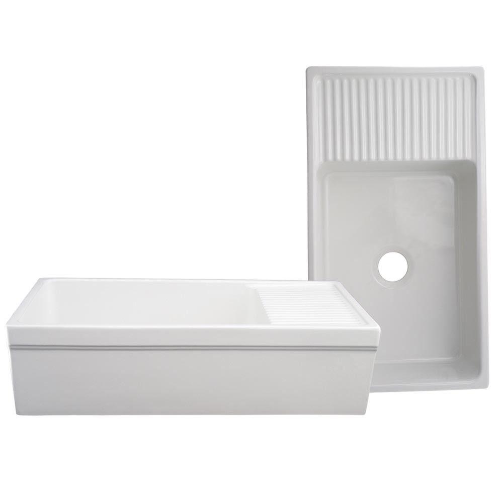 whitehaus quatro alcove farmhaus reversible fireclay farmhouse kitchen sink with drain board farmhouse sinks