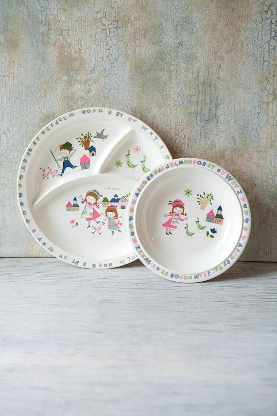 Children S Dish Set Divided Plate And Bowl By Roostersnestvintage Childrens Dishes Dish Sets Plates