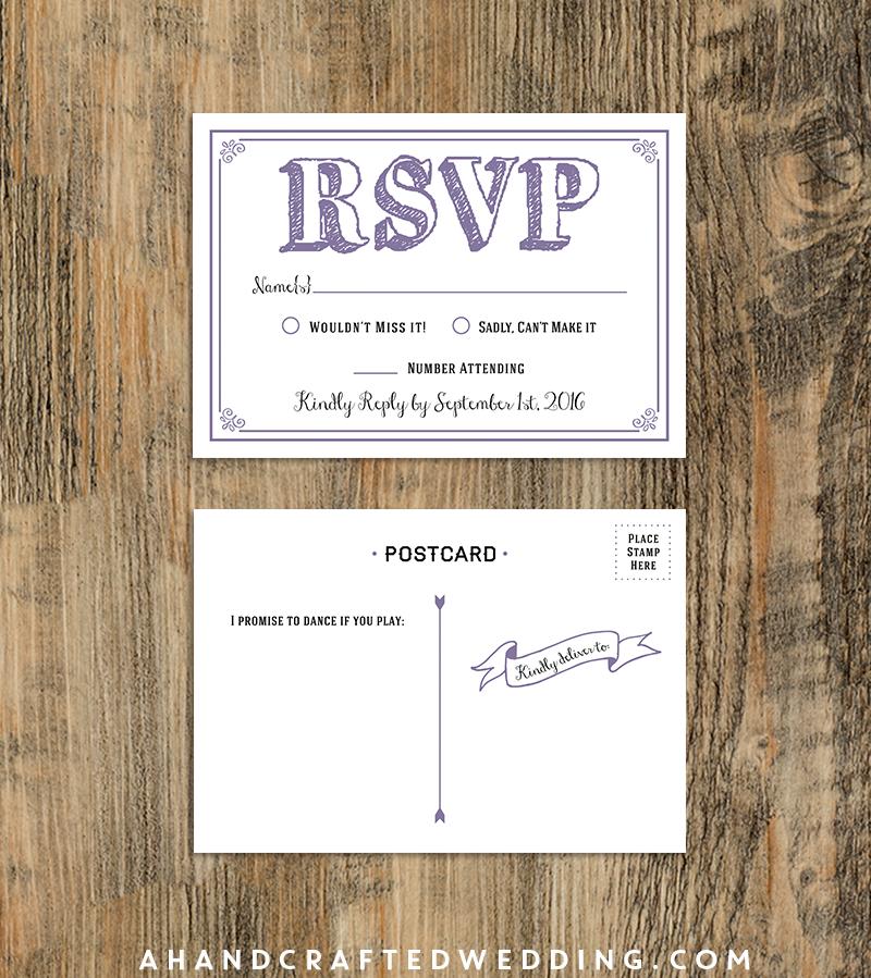 rsvp cards for weddings templates - 10 rsvp postcard lavender sample diy rsvp postcard
