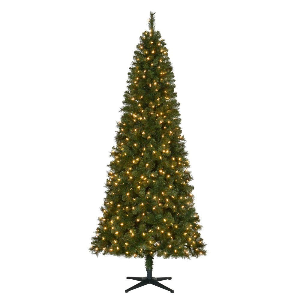 Home Accents Holiday 7.5 ft. Pre-Lit LED Wesley Slim Spruce Quick ...
