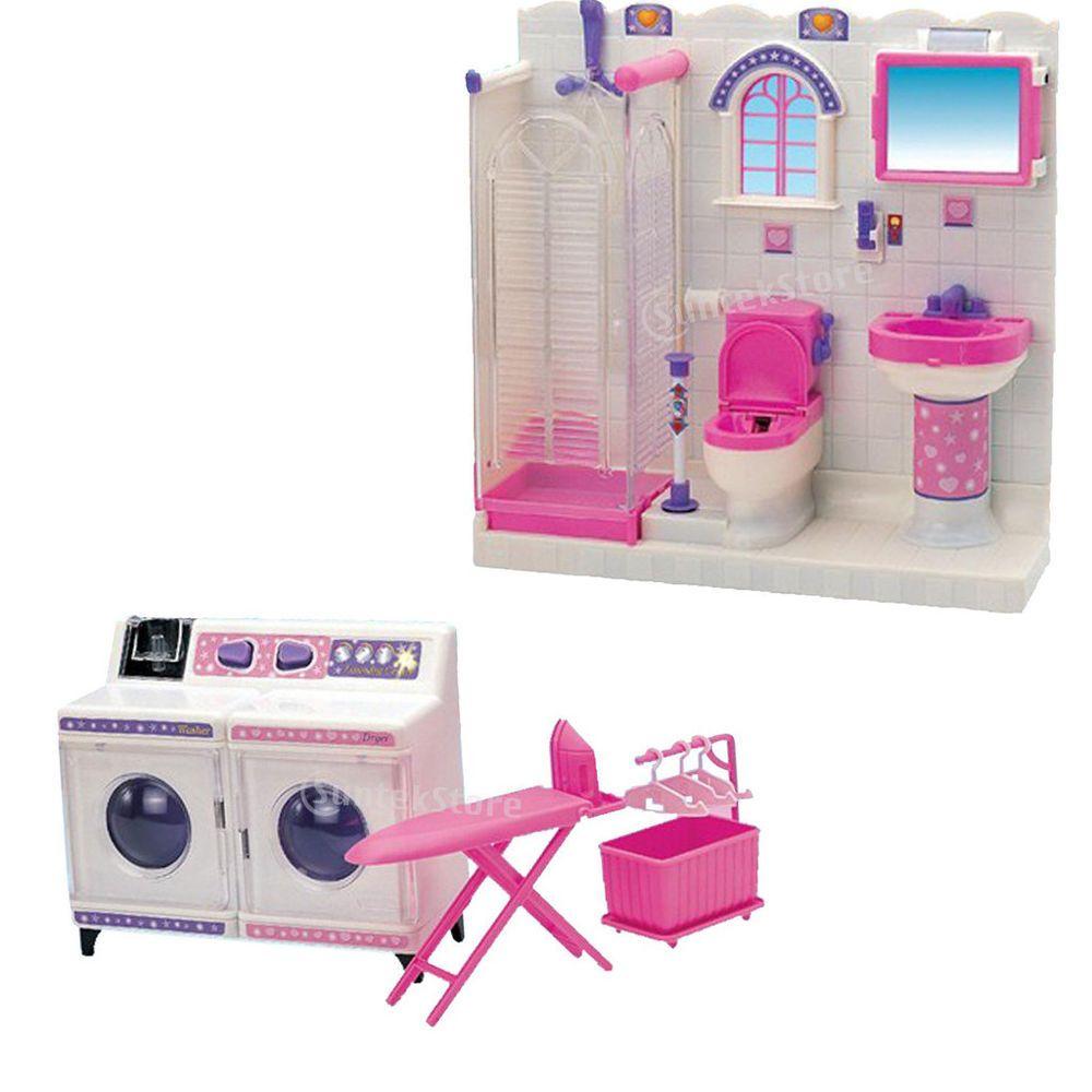 Miniatur Prinzessin Badezimmer Satz Ausrustungen Fur Barbie Puppen Haus Prinzessin Badezimmer Barbie Puppen Barbie