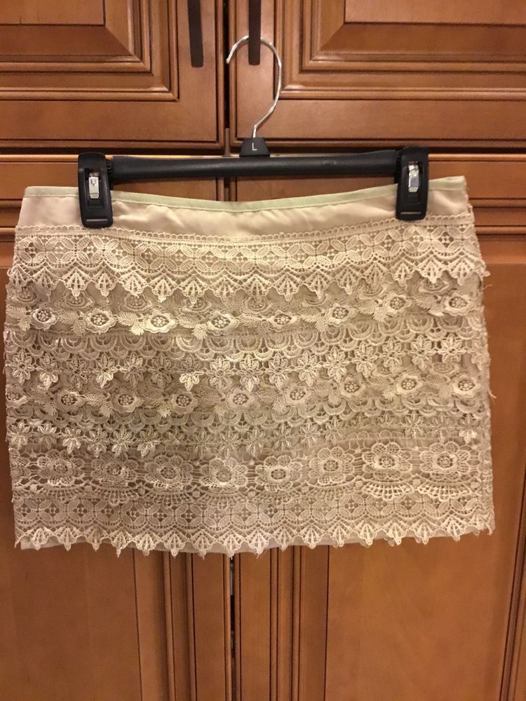 a53ed38955b6 WOMEN'S Sans Souci Ivory Crochet Lace Mini Skirt Sz: Medium #fashion  #clothing #shoes #accessories #womensclothing #skirts #ad (ebay link)